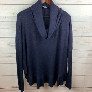 Anthro   Orley Navy Ruffle Cowl Neck Sweater